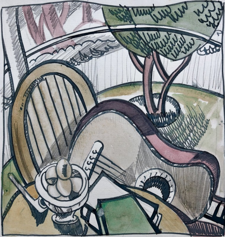 Doris Hatt (1890-1969)Still Life with Guitar and Pipe, 1930's