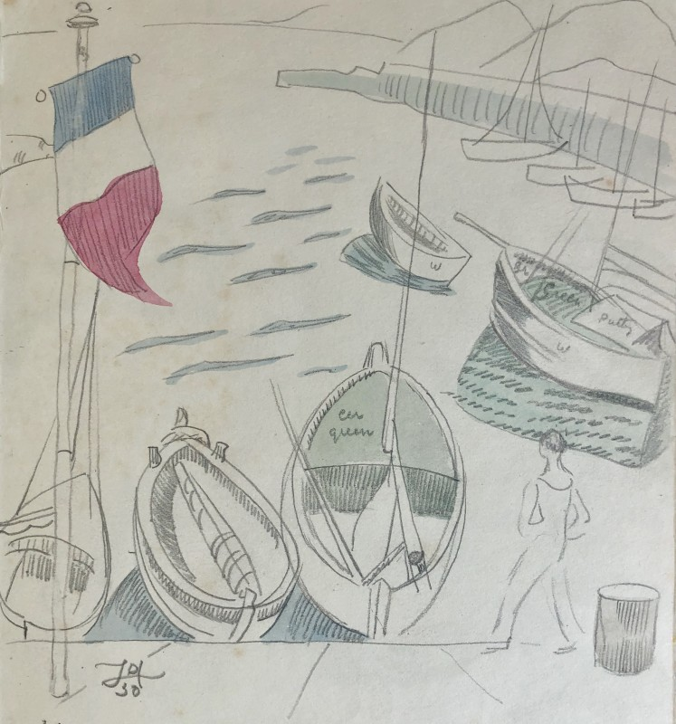 Doris Hatt (1890-1969)Boats and Tricolore, St. Tropez, 1950