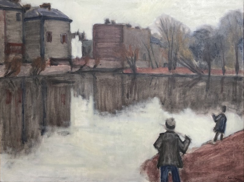Bryan Senior (b. 1935)Pond with Anglers, 1962