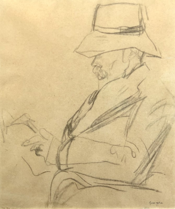 Gwen John (1876-1939)Portrait of the Poet Arthur Symons in a hat, reading, c. 1920
