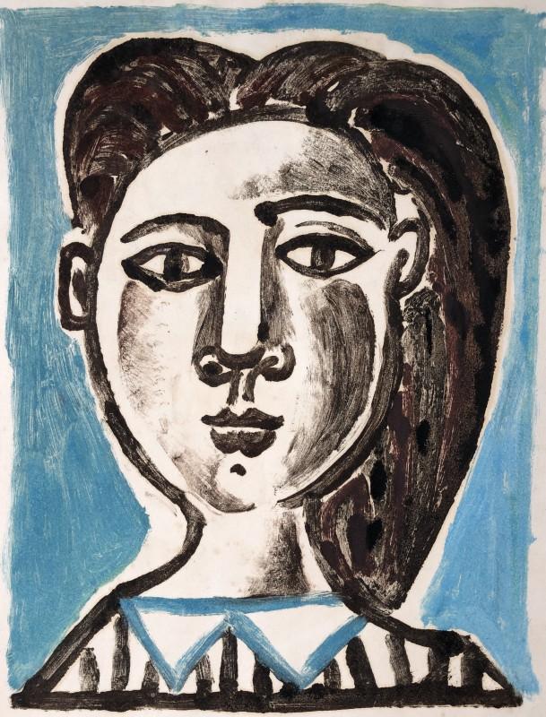 Carlos Carnero (1922-1980)Buste de femme (bleue), c. 1950