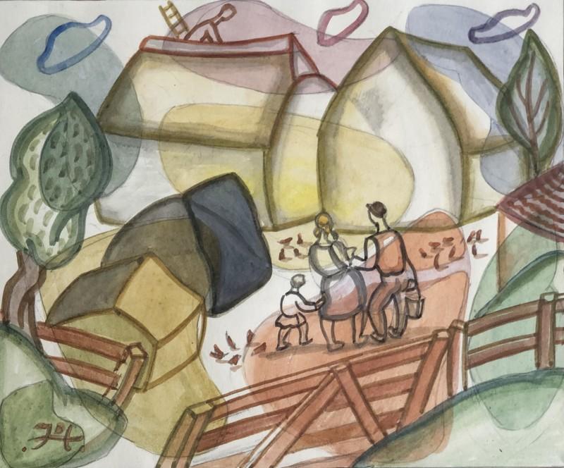 Doris Hatt (1890-1969)Haystacks, c. 1960s