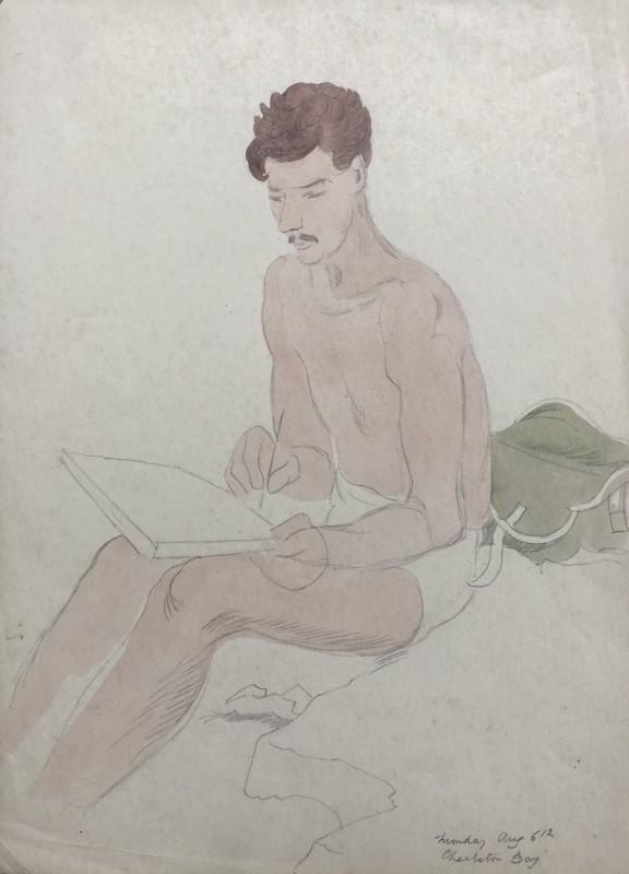 Doris Hatt (1890-1969)Sketching at Charlestwon Bay, Cornwall, c. 1940s