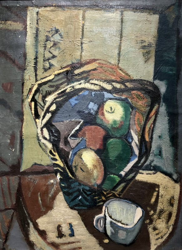 Kenneth Lauder (1916-2004)Basket of Apples and Cup, 1949