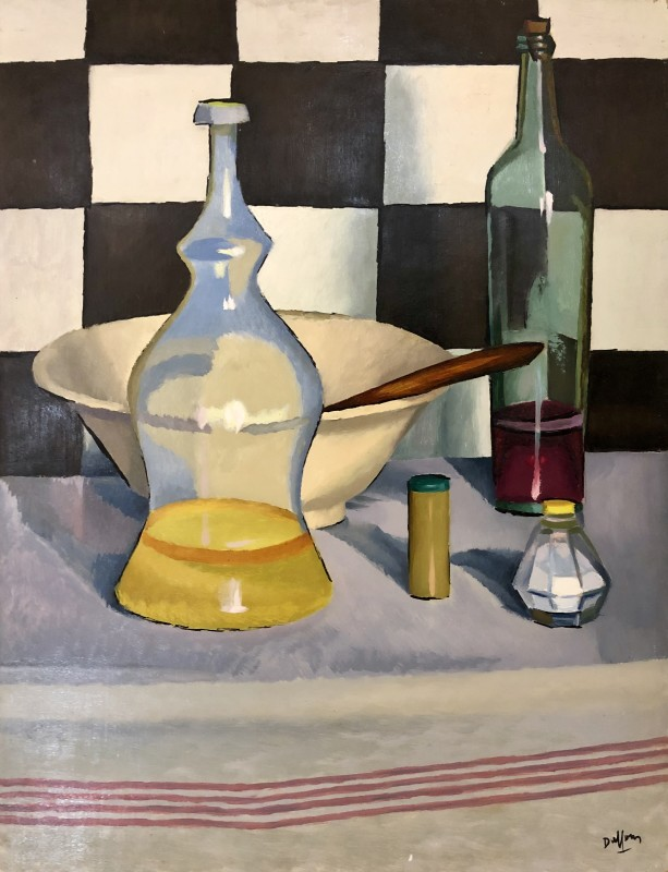 Jacques André Duffour, STILL LIFE WITH CHECKERED TILES AND GLASS BOTTLES, c. 1960