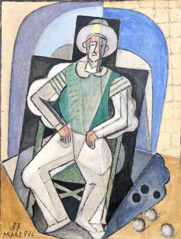 Marie Marevna (1892-1984)L'Homme aux boules de Pétanque á Juan-les-Pins, Antibes, 1937