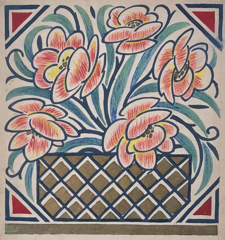 Nicolas Sorokine (b. 1892)Flower Design, c. 1920