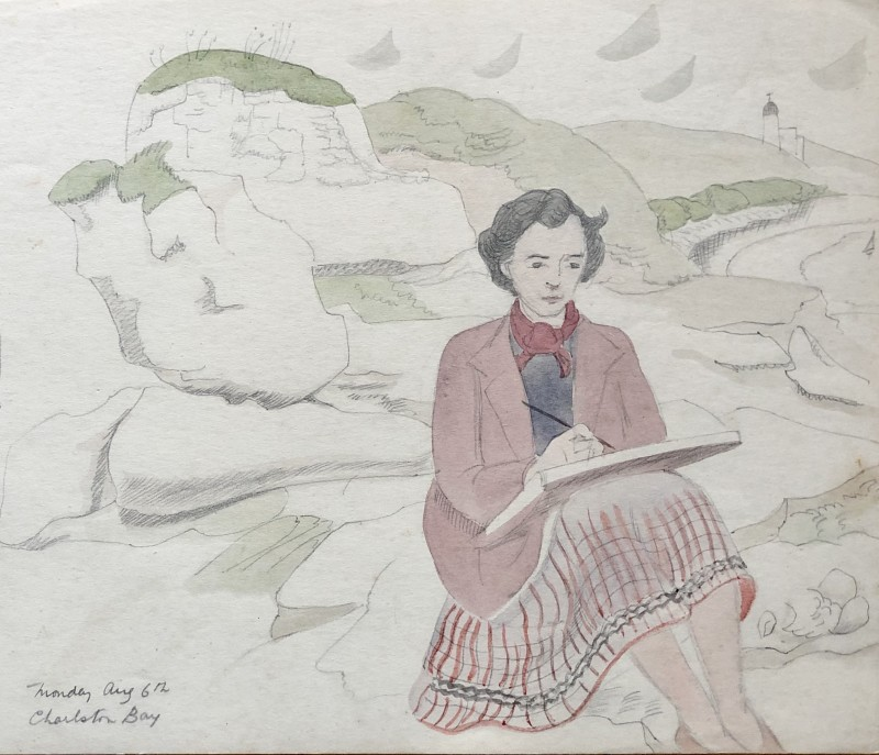 Doris Hatt, Sketching at Charlestown Bay, Cornwall, 1932