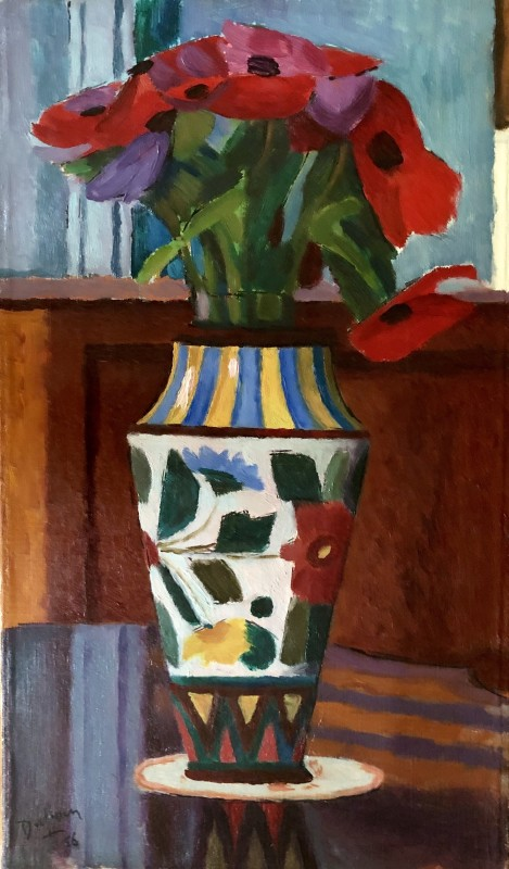 Jacques André Duffour, Still Life with Poppies and Decorated Vase, 1956