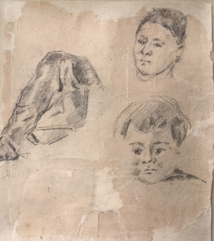 Paul Cézanne (1839-1906)Study of Madame Cézanne and the artist's son Paul (recto / verso), 1873
