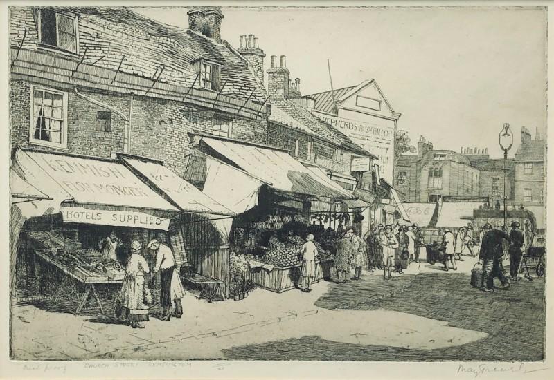 May Tremel (1882-1963)Church Street, Kensington, c. 1930