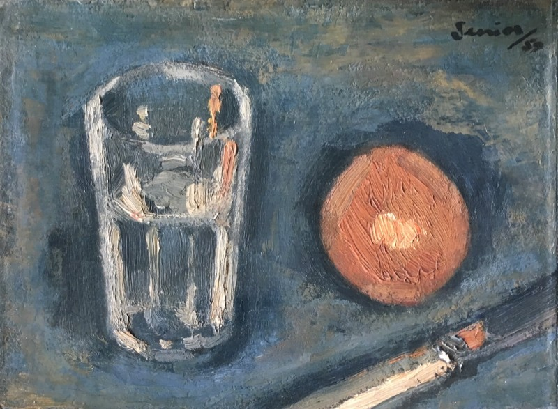 Bryan Senior , Still Life with Glass, orange and knife, 1959