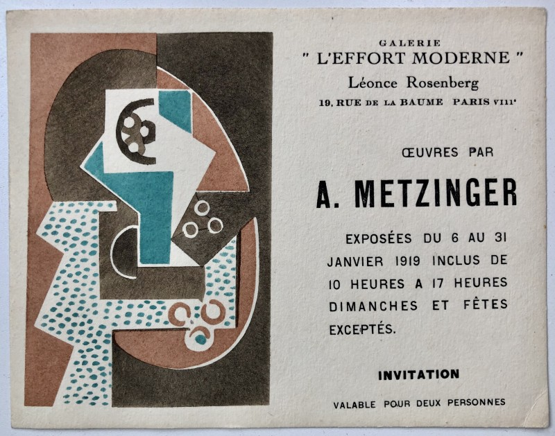Jean Metzinger (1883-1956)Private View Card, 1919