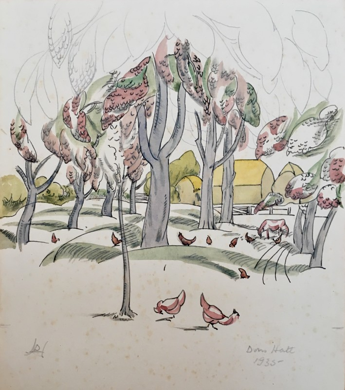 Doris Hatt, Trees and Chickens, 1935