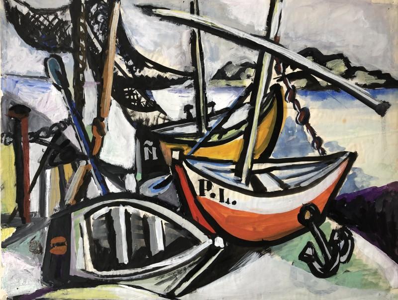 Carlos Carnero (1922-1980)Bateaux de pêche à Biot, c. 1950
