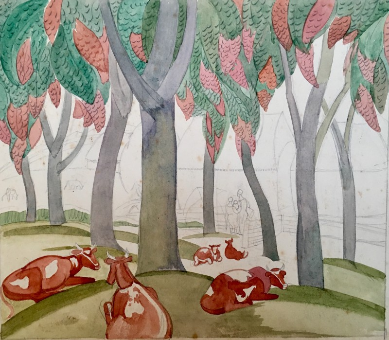 Doris Hatt, Cows and Trees, 1935