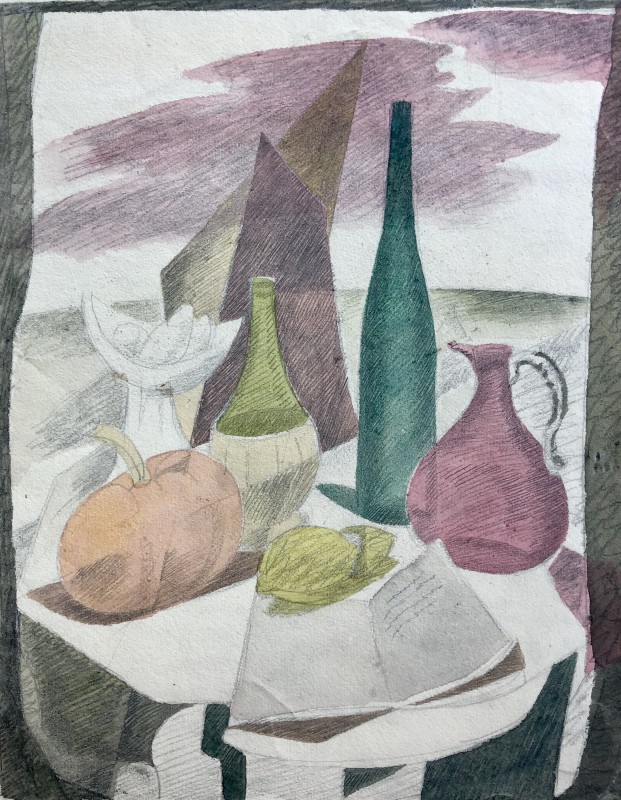 Doris Hatt (1890-1969)Still Life with Coloured Bottles, c. 1950
