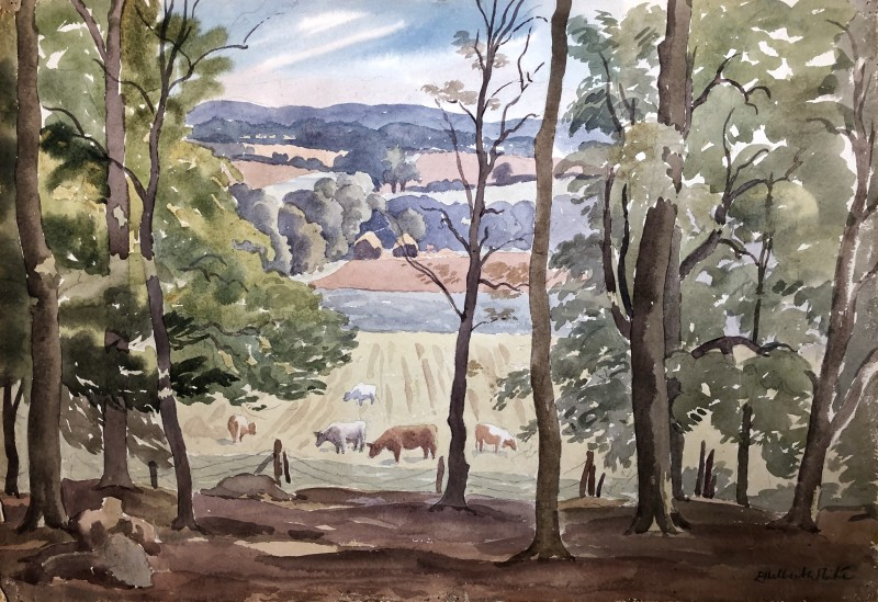 Ethelbert White, Sussex Landscape with Cattle, c. 1938