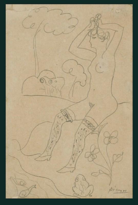 Pablo Picasso (1881-1973)Baigneuse au bord d'un ruisseau et un vieillard, 1904