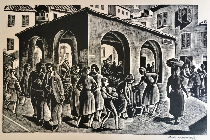 IAIN MACNAB (1890-1967)Le marché, 1951