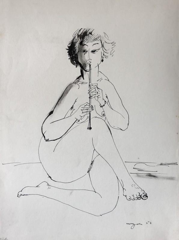 Glyn Morgan, Flute Player, 1952
