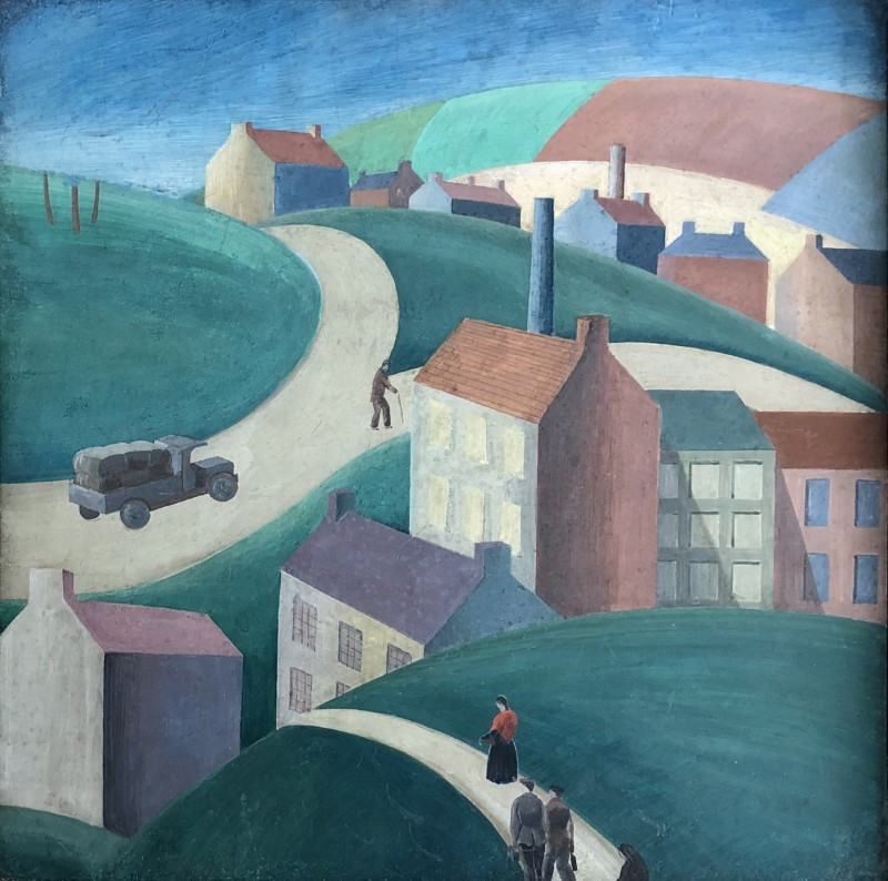 Jean Hugo (1894-1984)Landscape with Industrial Town, 1950's