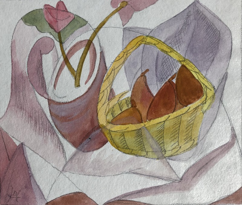 Doris Hatt (1890-1969)Still Life with Fruit Basket, 1950's