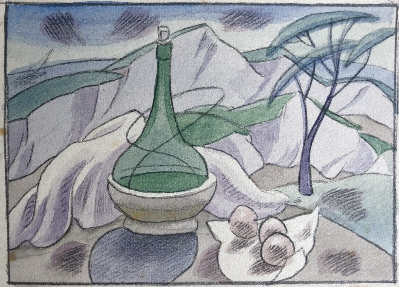 Doris Hatt (1890-1969)Still Life with Wine Bottle and Landscape, 1950's