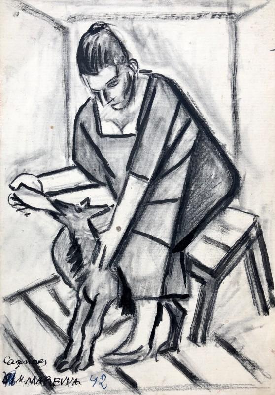 Marie Marevna (1892-1984)Woman Feeding a Goat, Cagnes-sur-Mer, 1942