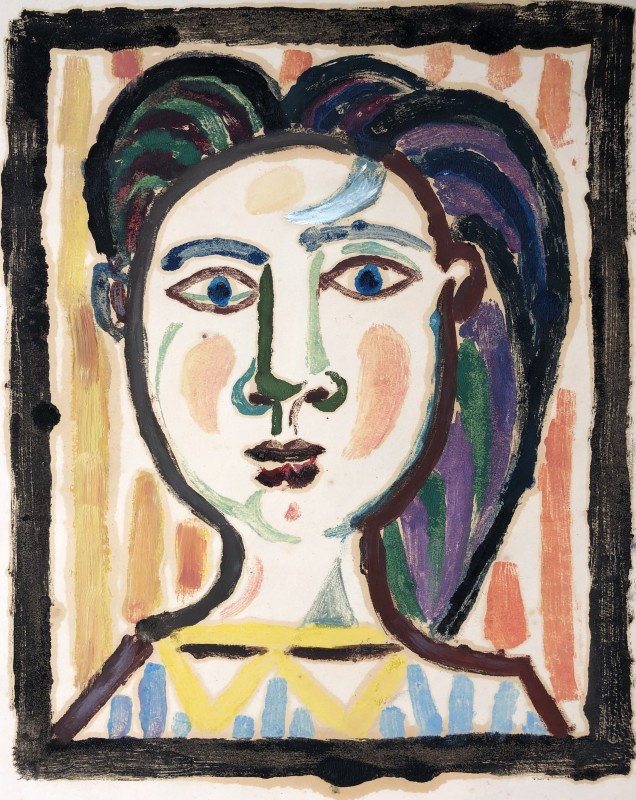 Carlos Carnero (1922-1980)Buste de femme (jaune), c. 1950