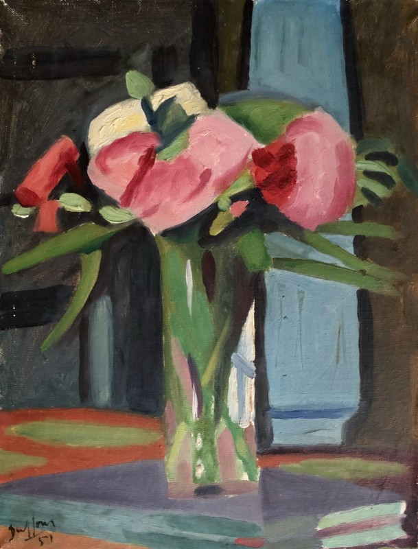 Jacques André Duffour, Still Life with Flowers in a Green Vase, 1951