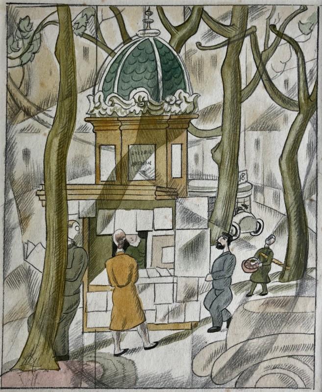 Doris Hatt (1890-1969)Paris Kiosk, 1950's