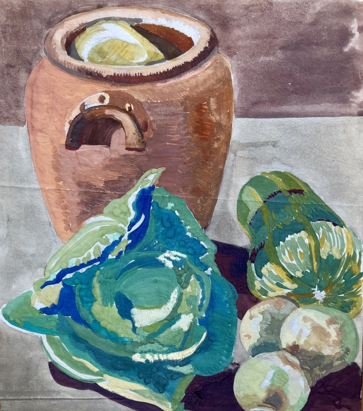 Doris Hatt (1890-1969)Still Life with Urn and Cabbage, 1920's