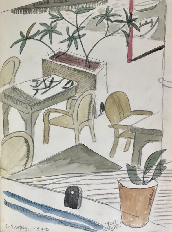 Doris Hatt (1890-1969)Café Courtyard, St. Tropez, 1950