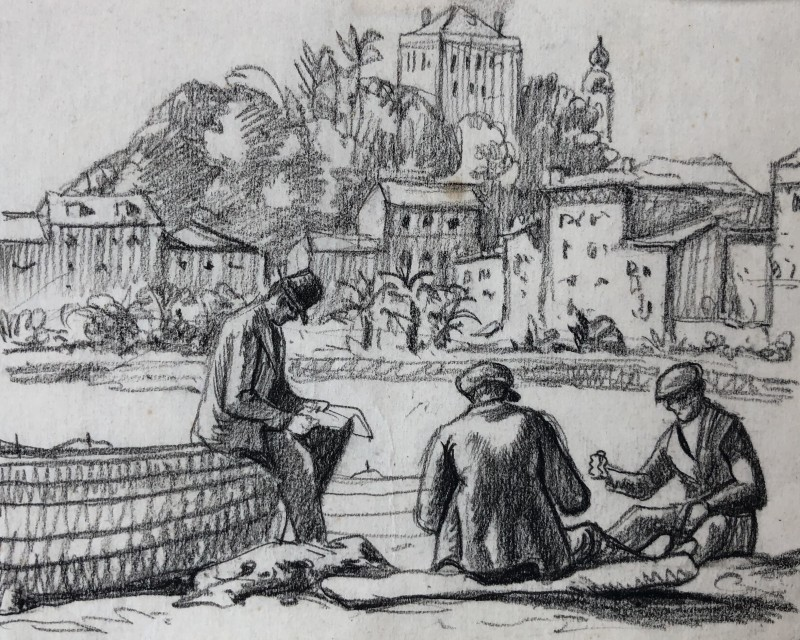 Ethelbert White, Mending Nets, Rapallo, c. 1924