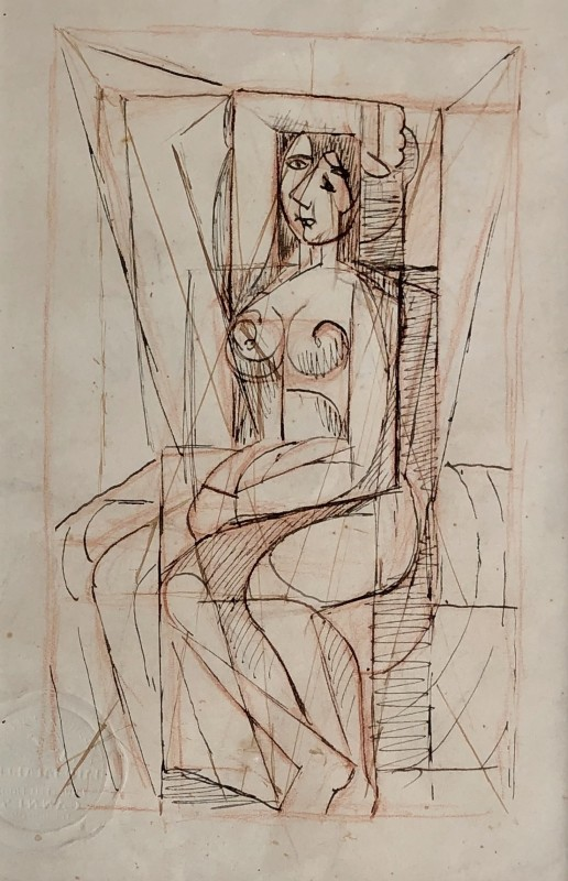 Marie Marevna (1892-1984) Cubist Nude with Arm Raised (Study after Picasso), c. 1939