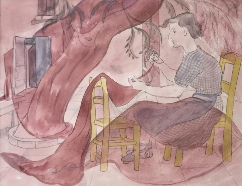 Doris Hatt (1890-1969)Mending Nets, St. Tropez, c. 1960s