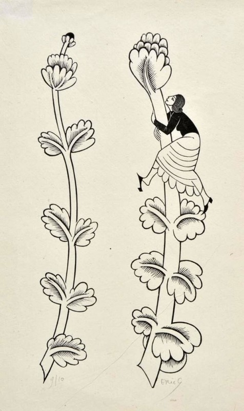 Eric Gill (1882-1940)Woman climbing floriated Phallus (cut for The Canterbury Tales), 1928
