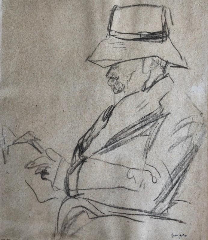 Gwen John, Portrait of the Poet Arthur Symons in a hat, reading, c. 1920