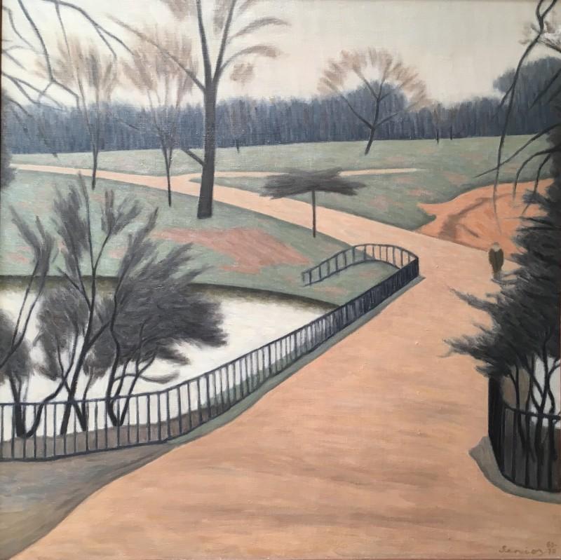 Bryan Senior (b. 1935)Ponds, Path & Figure, Hampstead Heath, 1969