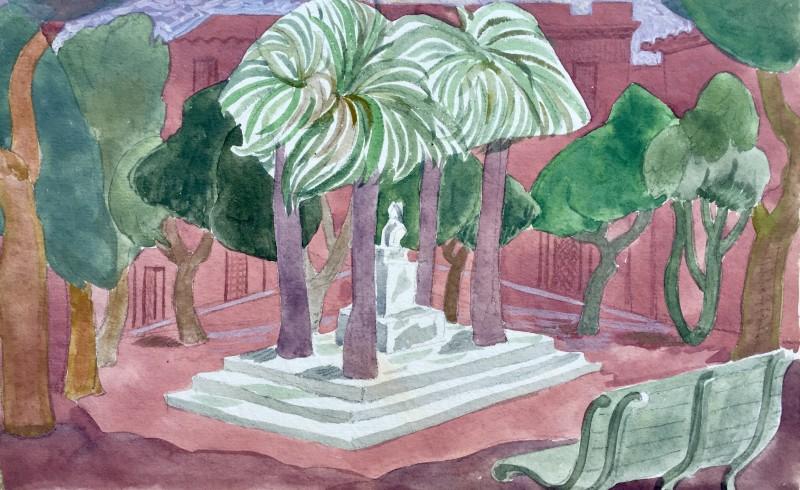 Doris Hatt (1890-1969)Town Square, Corsica, 1953