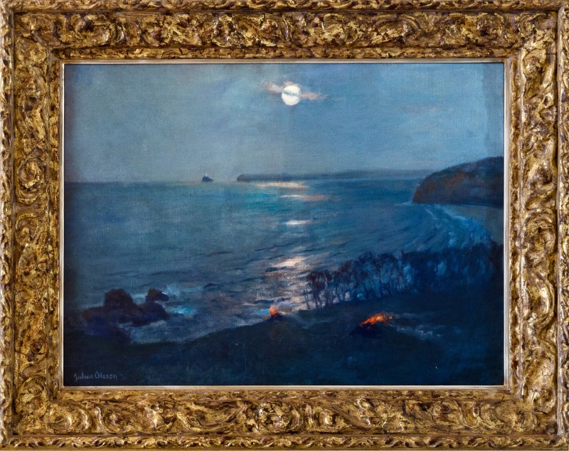 THE EARLY ST. IVES ART COLONY, Julius Olsson, Moonlight, St. Ives looking toward Godrevy Lighthouse.