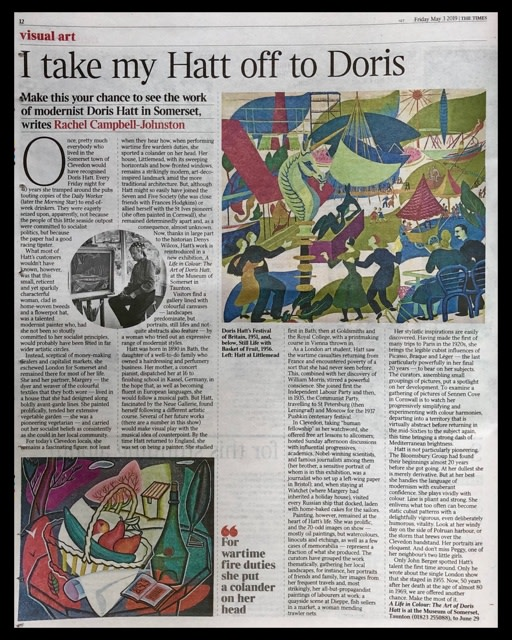 The Times Newspaper - Friday 3rd May 2019 Article on Doris Hatt
