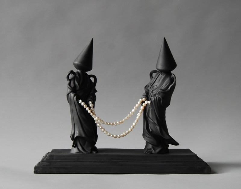 Matt Smith Conehead Geishas with Pearls, 2018 Black Parian with Freshwater Pearls 30 x 13 cm