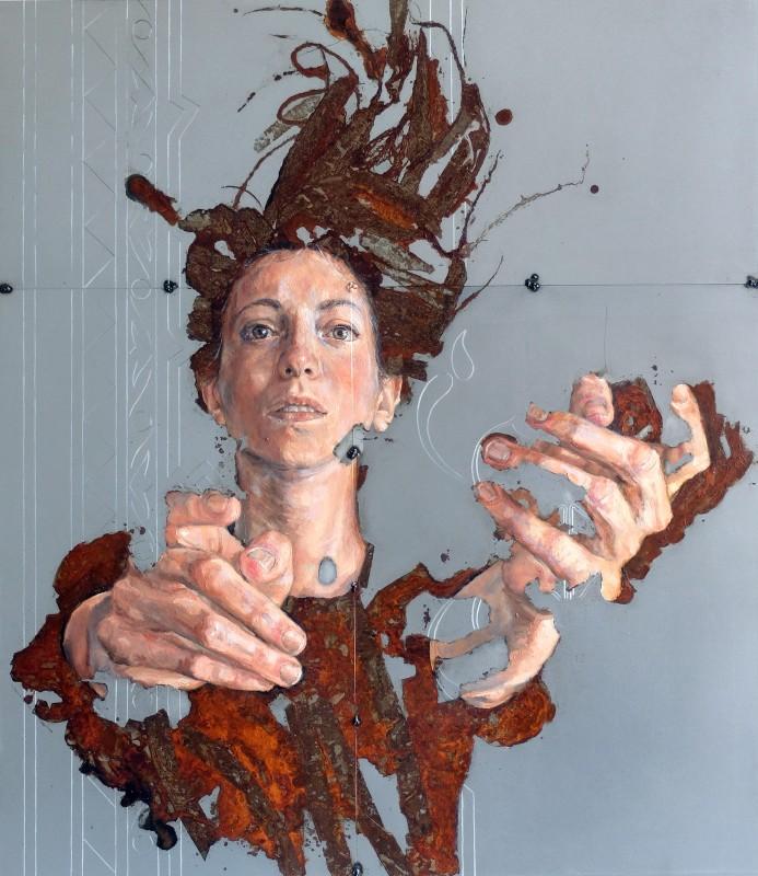Sabatino Cersosimo Love, Love, Love [III], 2018 Oil and oxidation on steel, 75 x 65 cm