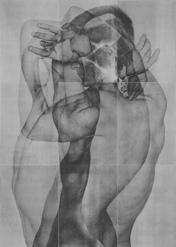 Rad Husak Mirrored [X], 2018 Pigment transfer and carbon pencil on sandblasted aluminium, 84 x 60 cm
