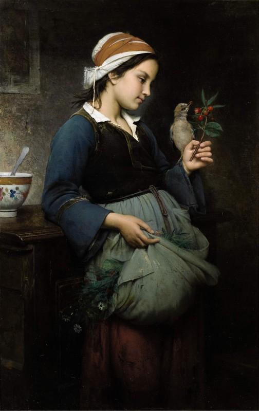 Fillette à l'oiseau