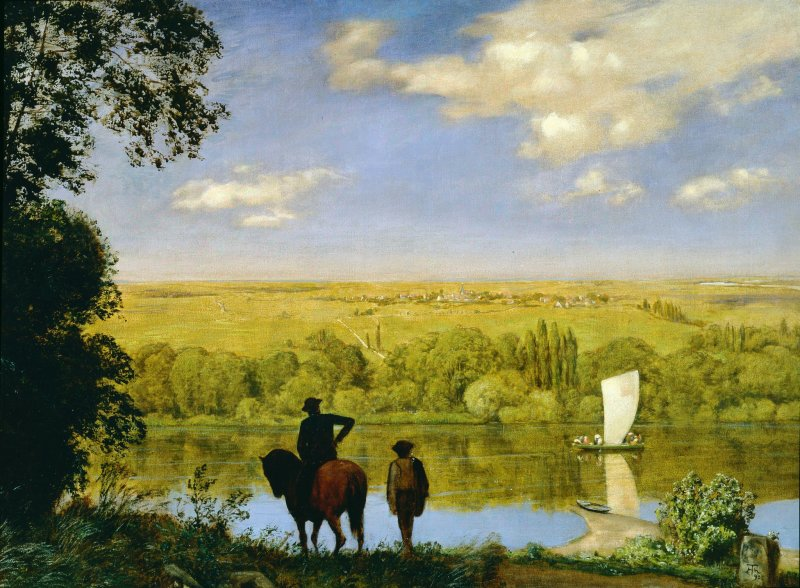 Hans Thoma, Mainlandschaft: Landscape with a Horseman on the Main, 1890
