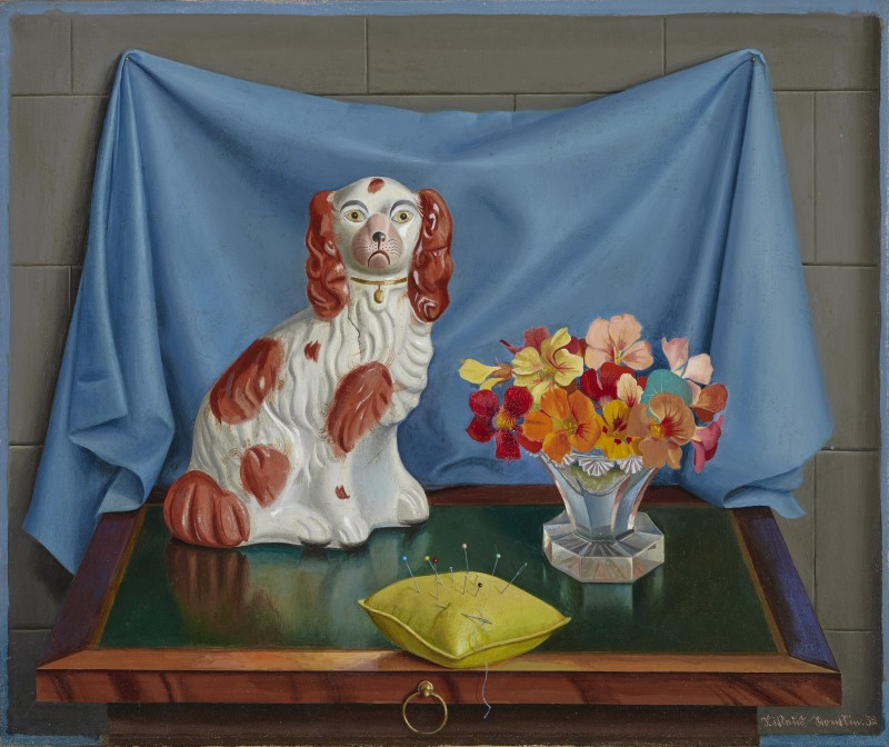 Niklaus Stoecklin, Still Life with Staffordshire Dog, Flowers, and Pin Cushion, 1932
