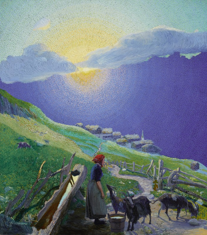 Waldemar Fink, Shepherdess with Flock in the Alps at Sunrise, 1908